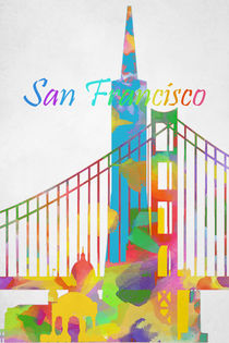 Abstract watercolor San Francisco  by Eti Reid