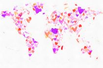 World Map Love Hearts by Eti Reid
