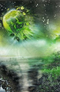 """"""" Explosive Green Planet """" Spray ART Painting by Beate Brass by Beate Braß"""