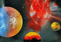 """"""" Bloodred Astroid """" Space Paint Spray Painting ART by Beate Braß von Beate Braß"""