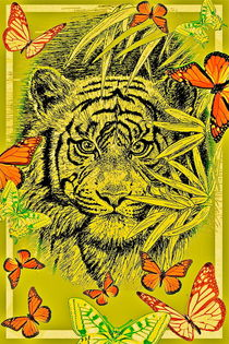 Tiger And Butterflies In Olive by gittag74