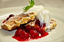 Waffle, Ice Cream & Cherries by Thomas Appenzeller