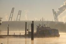 Weserstadion bei Sonnenaufgang mit Morgennebel und Weser, Bremen von Torsten Krüger