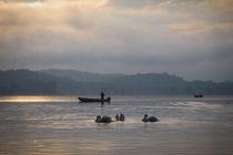 'Fischerboot mit Schwänen - Bodensee' von Christine Horn