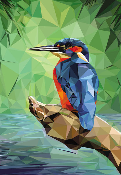 Kingfisher-low-poly