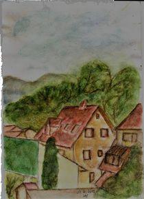 Schloßstraße - von oben  Original Aquarell by Ursula Huber