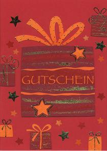 Weihnachtskarte Gutschein mit Paketen by seehas-design