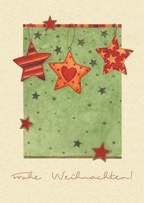 Weihnachtskarte mit hängenden Sternen von seehas-design