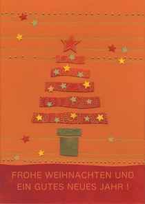 Weihnachtskarte Oranger Tannenbaum by seehas-design