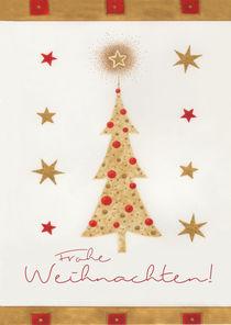 Weihnachtskarte goldener Tannenbaum by seehas-design