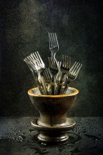 Still life with forks in a vase under drip irrigation by Valentin Ivantsov