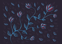Glowing Blue Abstract Flowers by Boriana Giormova