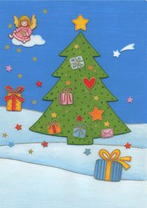 Weihnachtskarte Engel auf Wolke von seehas-design