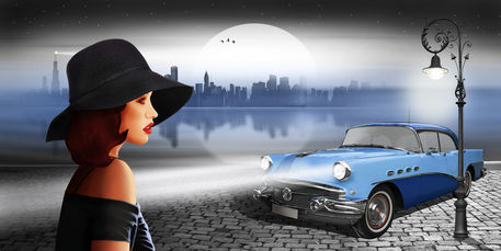 Lady-oldtimer-skyline-blue