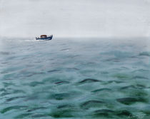Boat in misty green ocean by Ellen Paul watercolor