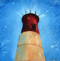 Lighthouse in the night, Cape Cod lighthouse, starry sky, Massachusetts, watercolor by Ellen Paul watercolor