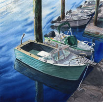 Boat in Marina, Cape Cod, Massachusetts, USA, reflection, watercolor, coastal von Ellen Paul watercolor