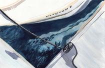 Reflection, boat reflection,  Cape Cod Marina, Massachusetts, boat, USA, sailing, watercolor von Ellen Paul watercolor