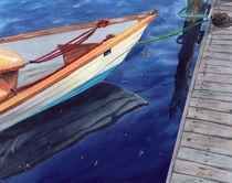 Reflection, boat reflection,  Cape Cod Marina, Massachusetts, boat, USA, sailing, watercolor by Ellen Paul watercolor
