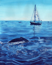Dolphin in the ocean, boat in the ocean, waves, sailing, watercolor by Ellen Paul watercolor