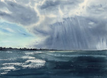 Sky before storm, dramatic sky, seaview, seascape, Cape Cod, ocean, watercolor, Massachusetts by Ellen Paul watercolor