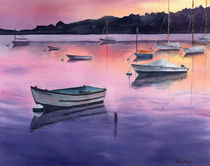 Sunset in marine, Cape Cod, Massachusetts, boats in sunset, watercolor by Ellen Paul watercolor