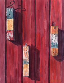 Pieces of woods on the red wall, fishing house, Massachusetts, Rockport, watercolor by Ellen Paul watercolor