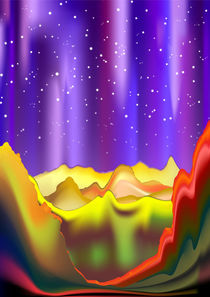 Aurora Borealis on Rainbow Surreal Mountains by bluedarkart-lem