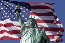 Freiheitsstatue, Montage mit amerikanischer Flagge,  Staten Island, New York City, USA von travelstock44