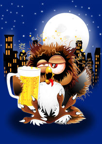 Drunk Owl with Beer Funny Character von bluedarkart-lem
