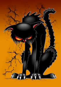 Black Cat Evil Angry Funny Character  by bluedarkart-lem