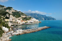 Amalfi, Italy - panoramic view of the city and blue sea by Tania Lerro