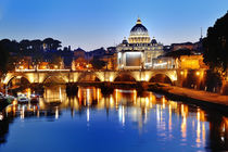 Rome, Italy - view of the Tiber river and St. Peter's Basilica at night by Tania Lerro