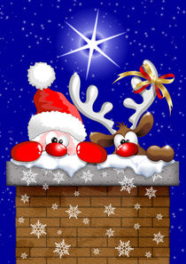 Funny Christmas Santa and Reindeer Cartoon von bluedarkart-lem