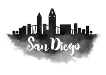San Diego Watercolor City Skyline von Kursat Unsal