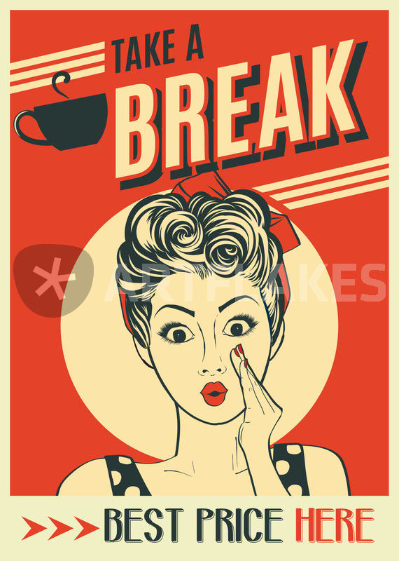 Zoom Like Comment Embed Description Advertising Coffee Retro Poster With Pop Art Woman