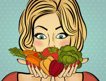 Sexy blonde woman with many vegetables in his hands von Claudia Balasoiu