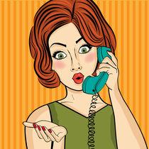 Surprised pop art  woman chatting on retro phone by Claudia Balasoiu