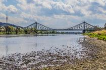 Blick von der Elbe zum Blauen Wunder in Dresden  by Christoph  Ebeling