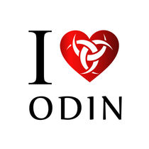 I love Odin- The horns of Odin on a heart by Shawlin Mohd