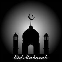 Eid Mubarak- A silhouette of a mosque on eve of Eid by Shawlin I