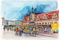 Leipzig, Wochenmarkt vor dem Alten Rathaus von Hartmut Buse