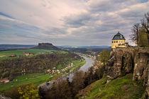 Blick von der Festung Königstein ins Elbtal  von Christoph  Ebeling