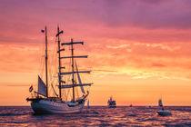 Segelschiff auf der Ostsee im Abendlicht von Rico Ködder