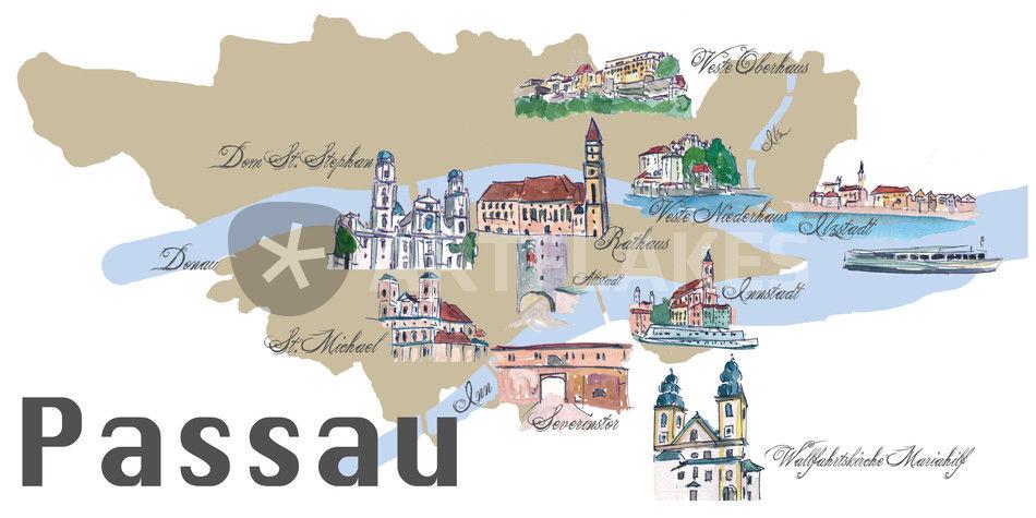 Passau Karte Mit Touristischen Top Ten Highlights Mixed Media Als