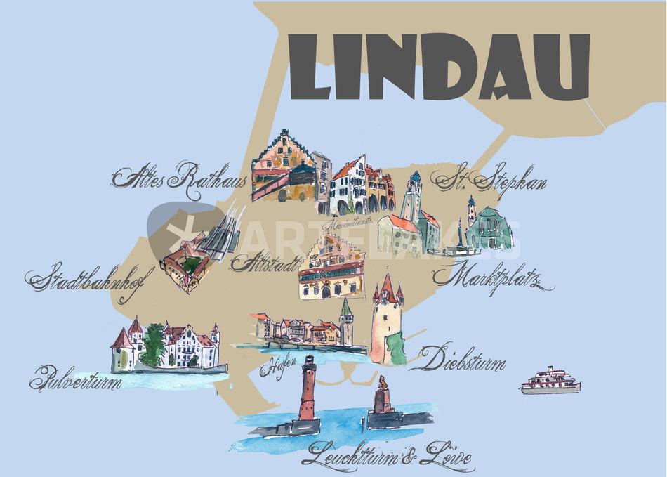 Lindau Karte Mit Touristischen Top Ten Highlights Mixed Media Als