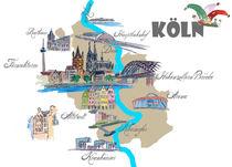 Köln Karte mit touristischen Top Ten Highlights by M.  Bleichner