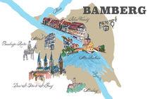 Bamberg Karte mit touristischen Top Ten Highlights von M.  Bleichner