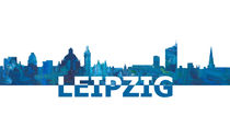 Leipzig Skyline Silhouette in abstrakten Style von M.  Bleichner