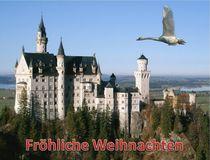 Weihnachtspostkarte Schwan über Schloss Neuschwanstein von kattobello
